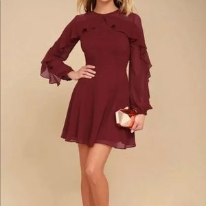 Lulus burgundy chiffon ruffle skater dress